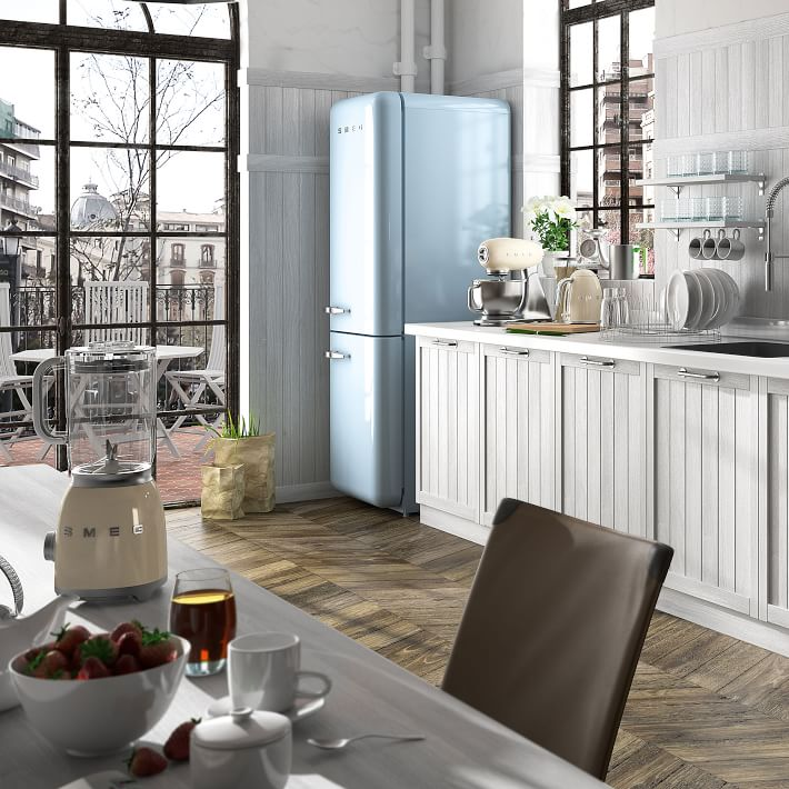 Baby blue vintage look refrigerator from Smeg, Image via: West Elm
