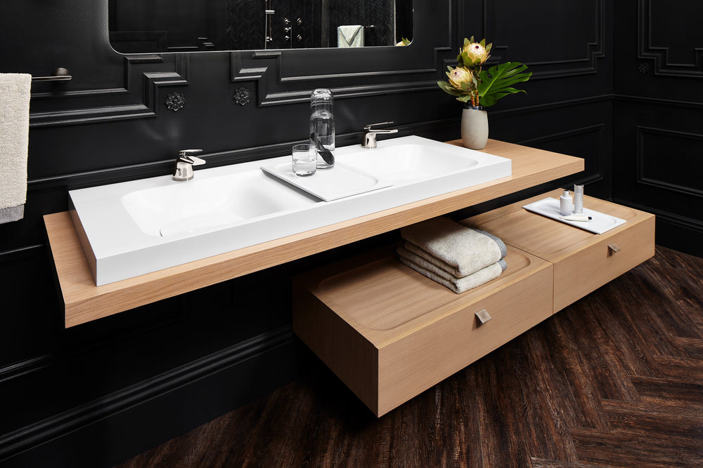 The Modulus Collection by DXV debuts at KBIS2018 #bathroomdesign #plumbingfixtures #sink #faucet #bathroom #doublesink #kbis2018