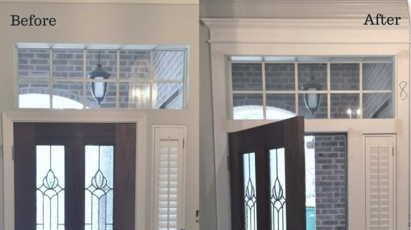 A  before and after job site visit  with mouldings added surrounding the front door. Designer: Carla Aston #mouldings #trimwork #door