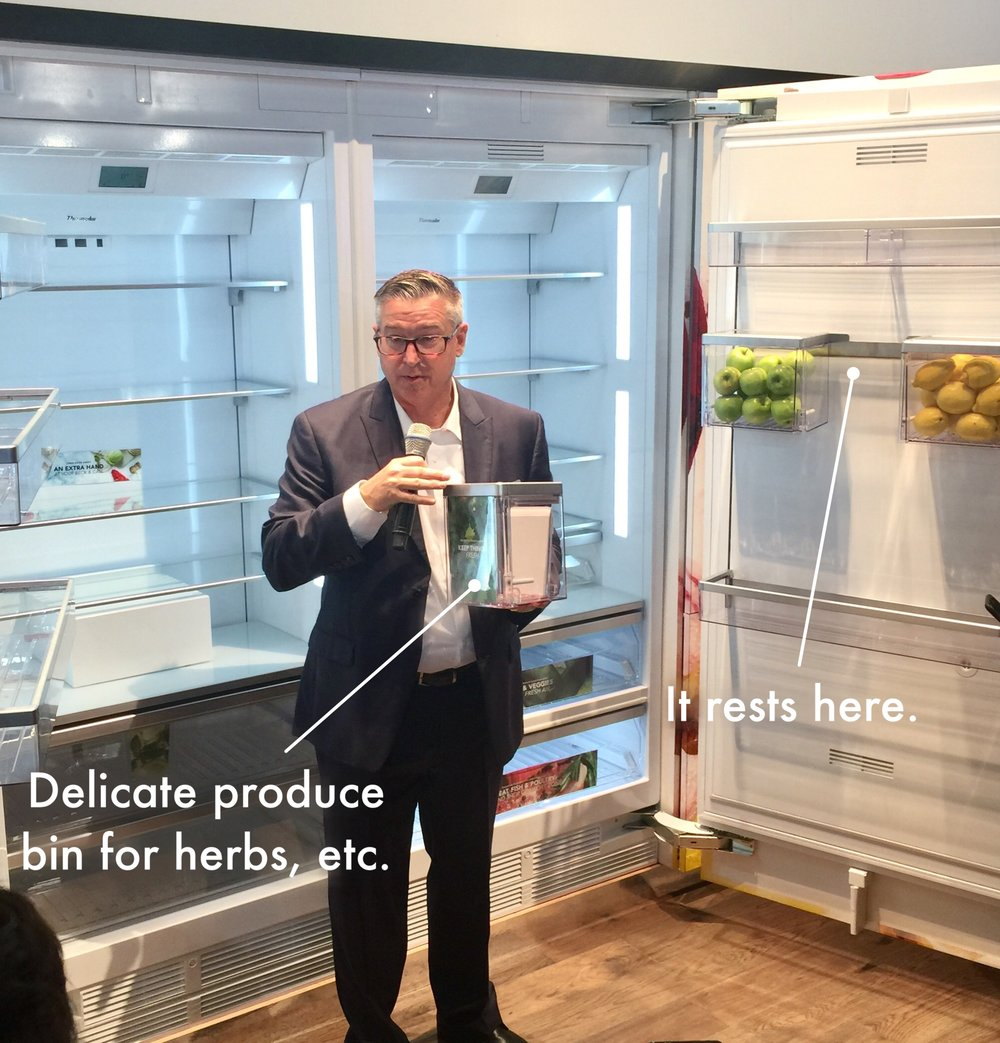 Delicate produce boxes in the Thermador refrigerator, hang on the door #thermador #refrigerator