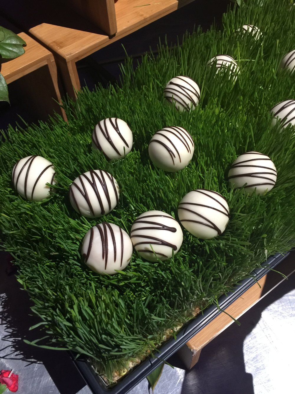 These cake pops were so creatively displayed in grasses #partyfood #cakepops #entertaining