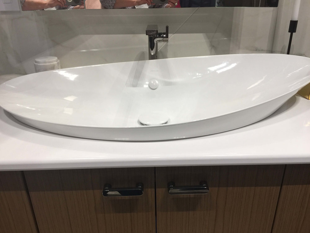 New sink intros from Kohler at KBIS2018 like this wide, asymmetrical vessel sink #sink #vesselsink