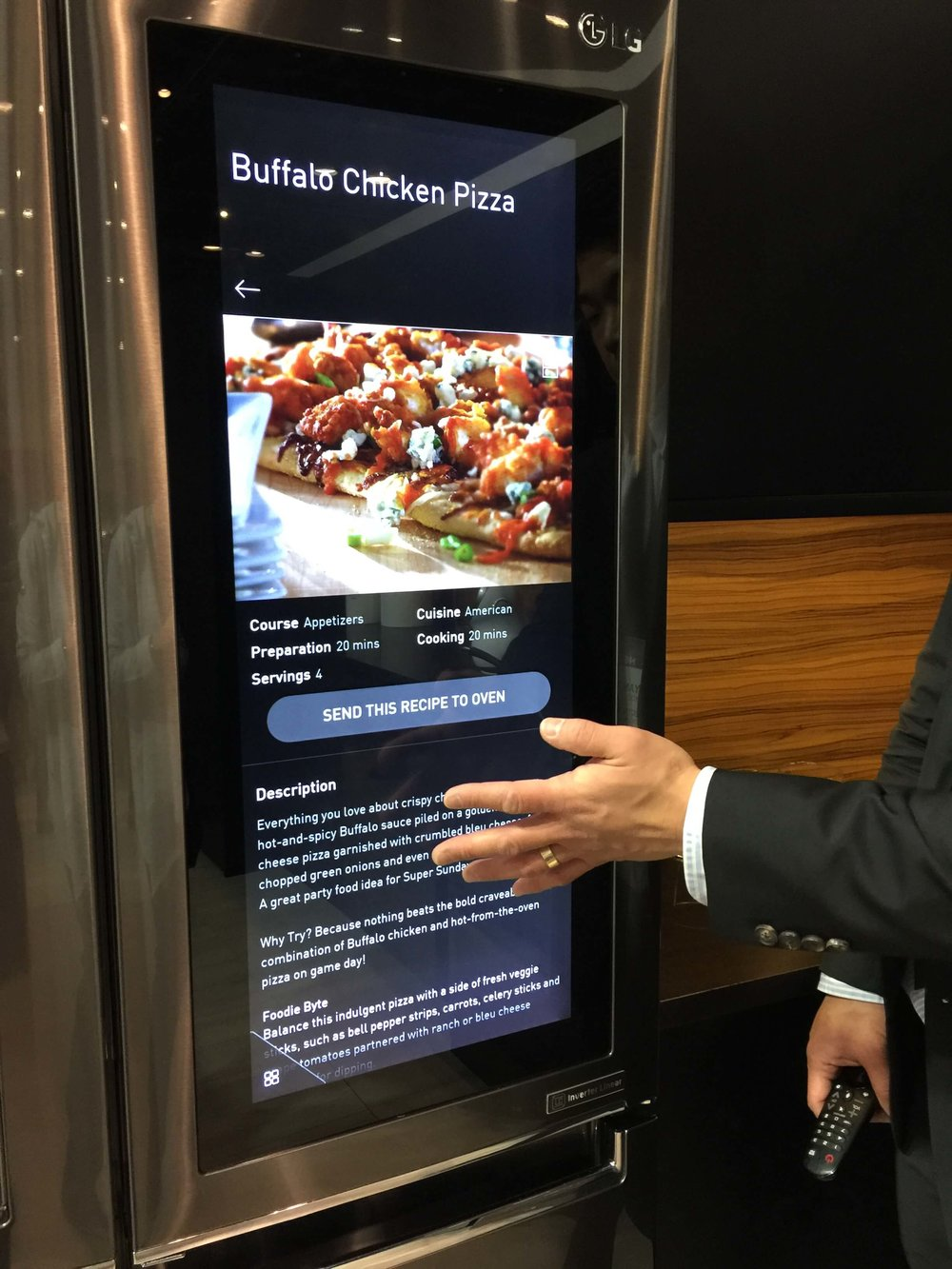 Smart home technology was a big feature at KBIS2018, seen in this refrigerator that can send recipe data to the oven. #smarthome #appliances #lgappliances