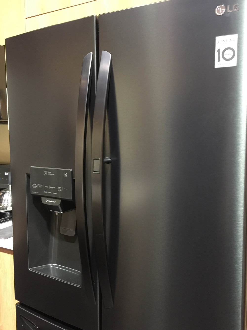 Their  matte black finish  was a new intro this year. It hides fingerprints too. #matteblack #blackappliances #blackrefrigerator