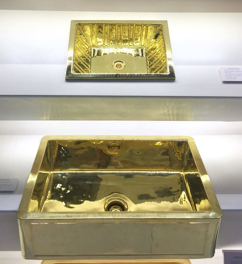 Polished brass farmhouse style sink and specialty sink from Thompson Traders #brasssink #farmhousesink #brass