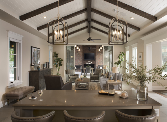 Family Room in The New American Remodel - Orlando, KBIS #kitchen #familyroom #beams