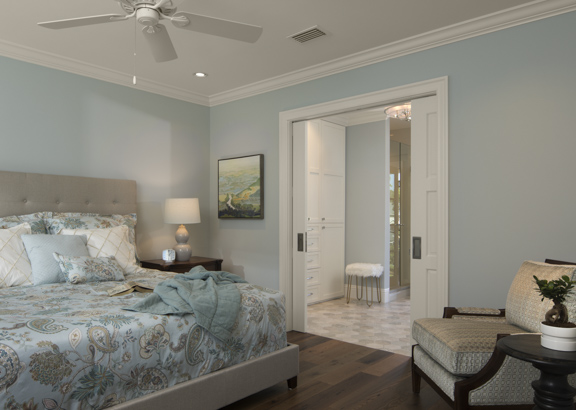 Guest bedroom -The New American Remodel - Orlando, KBIS2018 #bluebedroom #bedroom