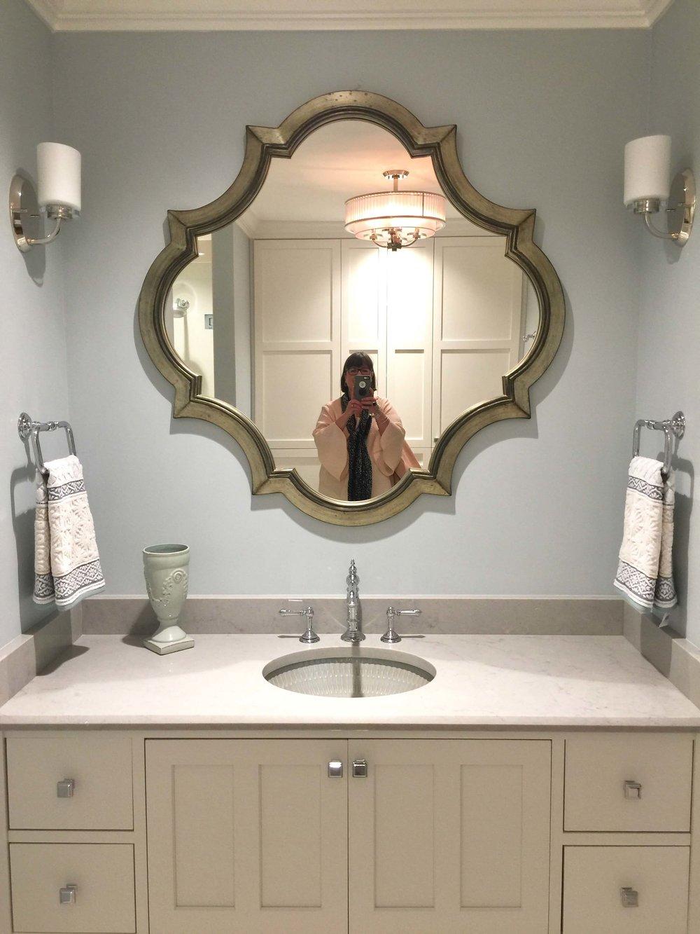 Guest bathroom -The New American Remodel - Orlando, KBIS2018 #bathroomvanity #mirror