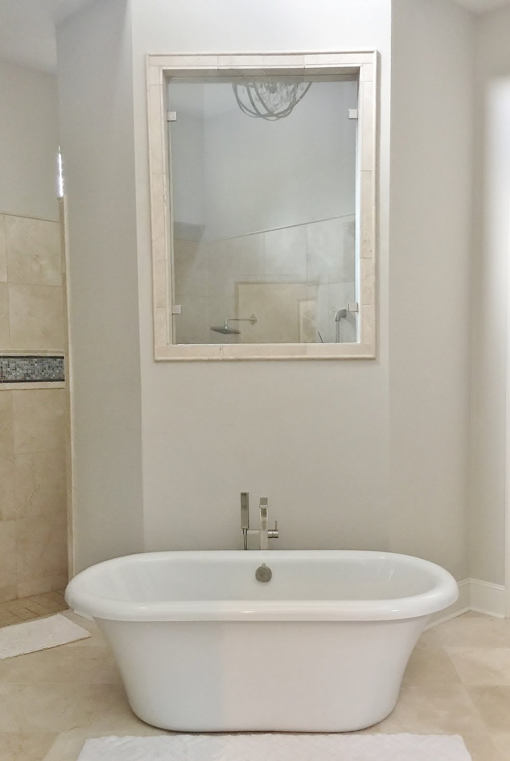 After - free-standing tub with more to come in this remodel #freestandingtub #bathroomremodel