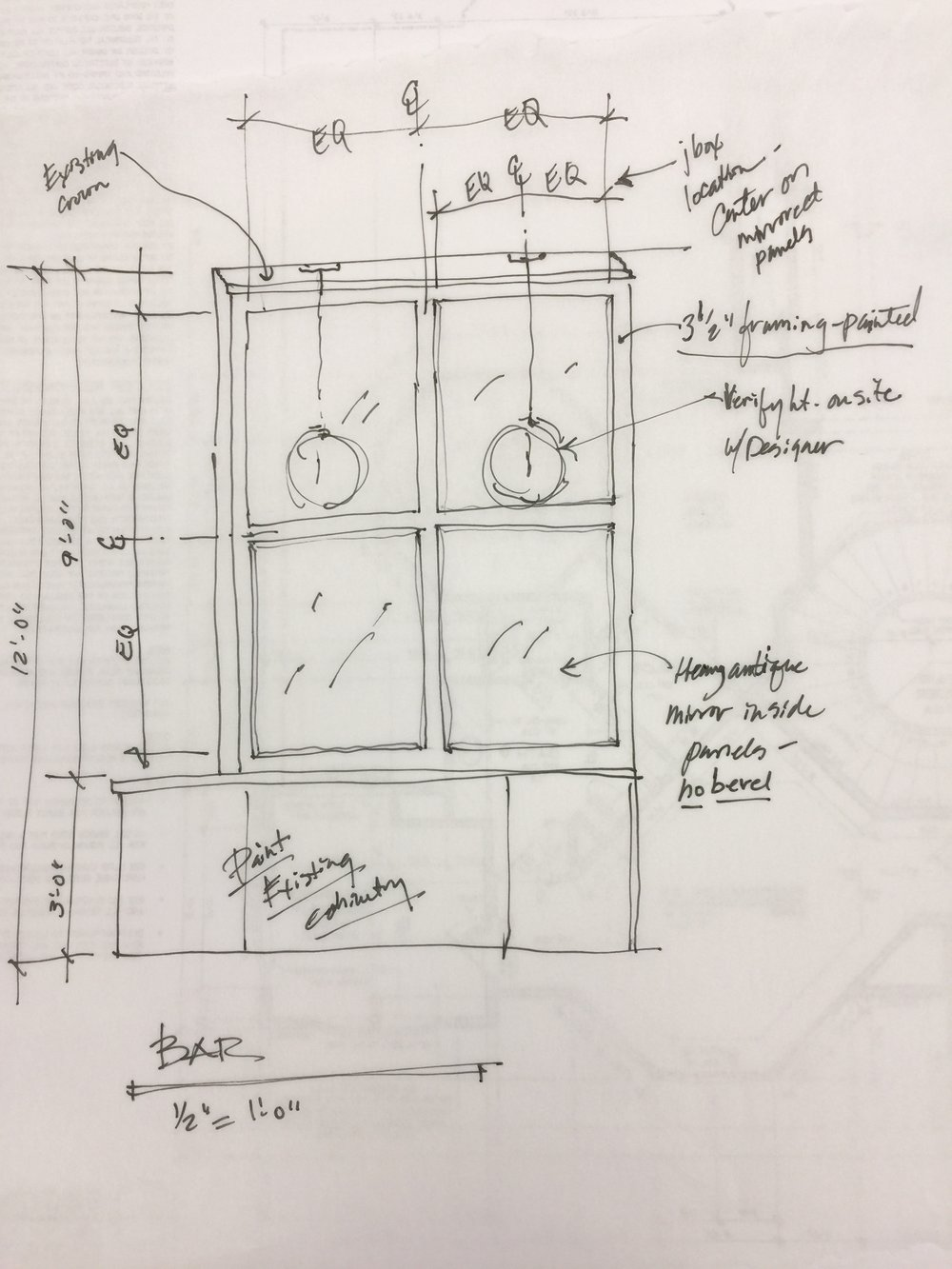 Quick sketch for bar cabinetry modification #sketch #mirrors #interiordesigner #remodel