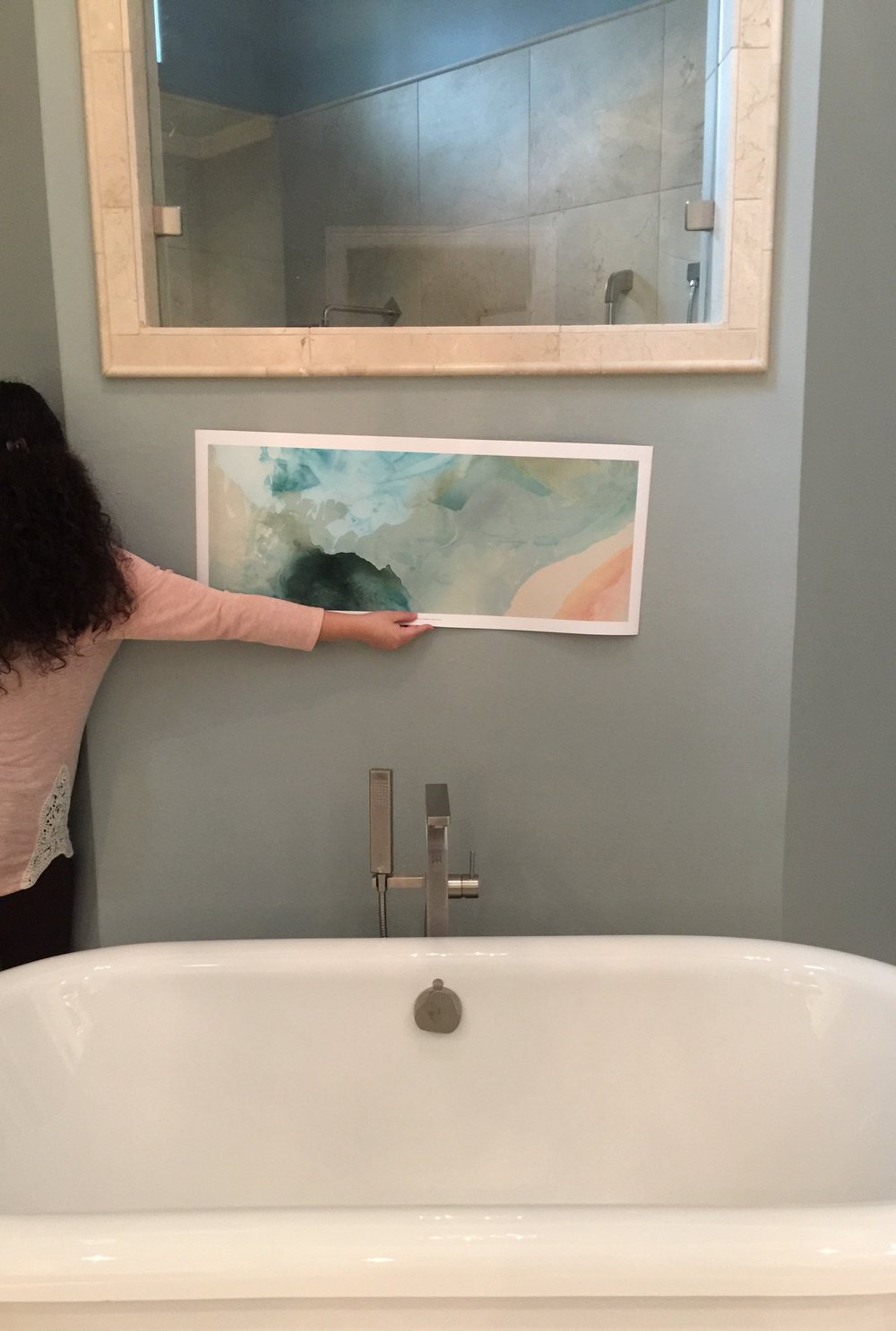 Selecting art for the bathroom  #art #bathroomart