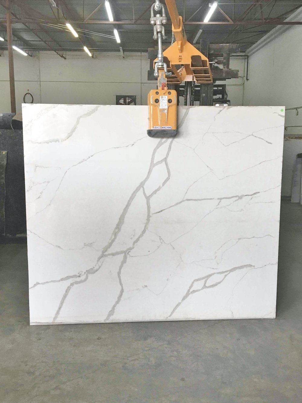 White marble slab for the kitchen island