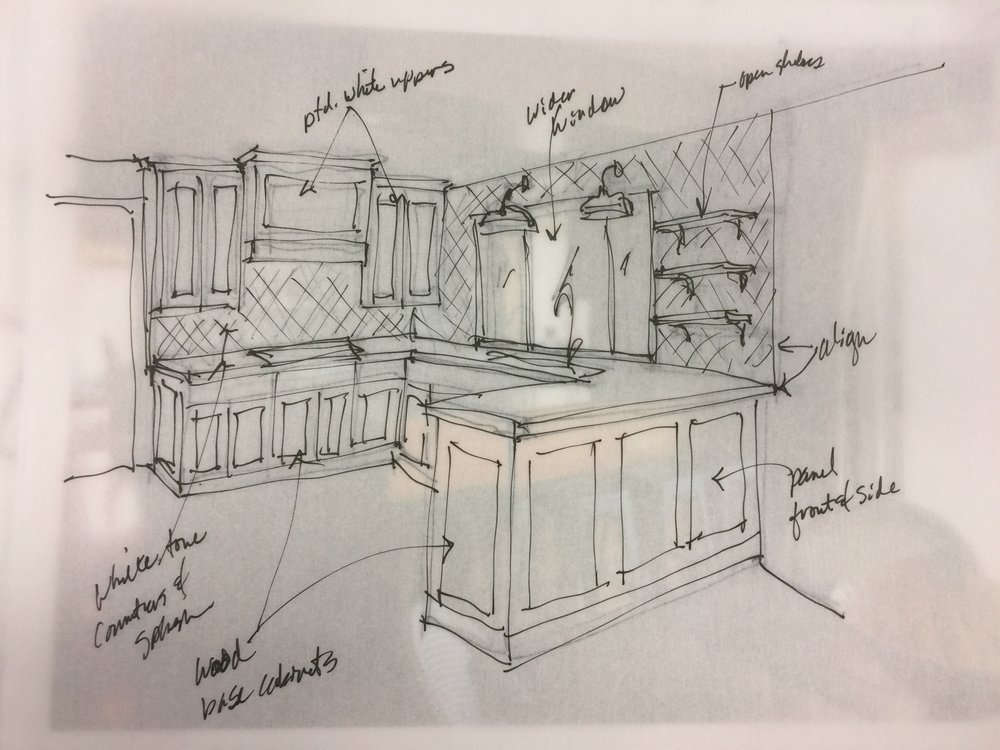Proposed Design Sketch - A wider window makes for a more expansive space and lighter, brighter kitchen #kitchenremodel #kitchensketch