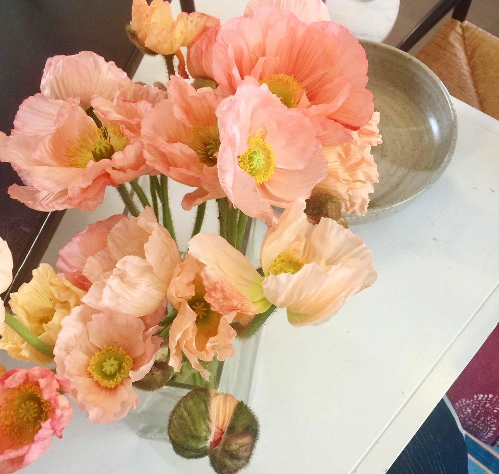 Fresh flowers on the buffet, peach poppies #poppies #freshflowers