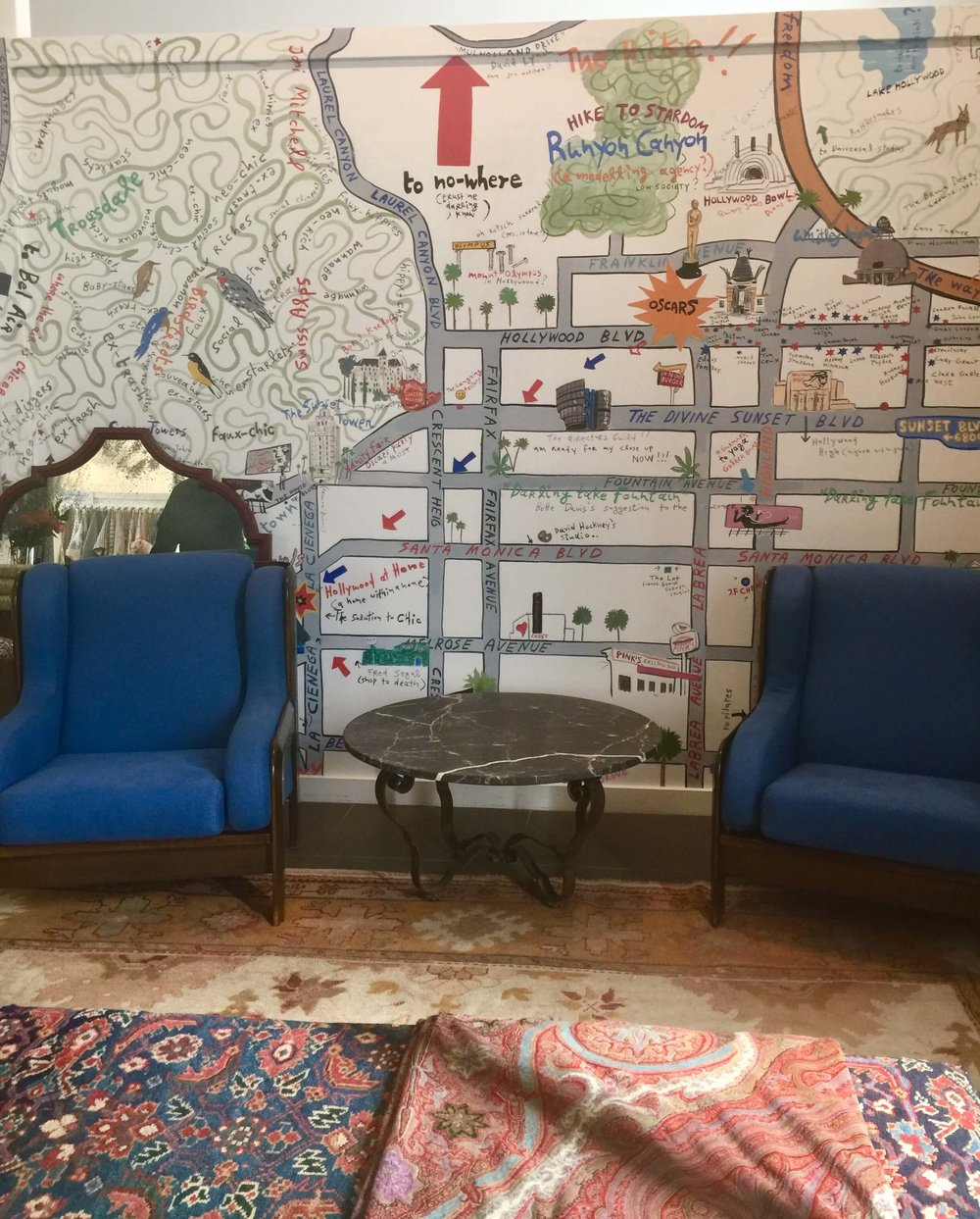 LA wallcovering map in Hollywood at Home, home furnishings shop in Los Angeles #map #wallmural