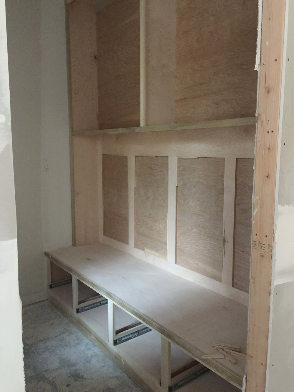 IN PROGRESS - Mud room bench area for kids' backpacks #mudroom #bench