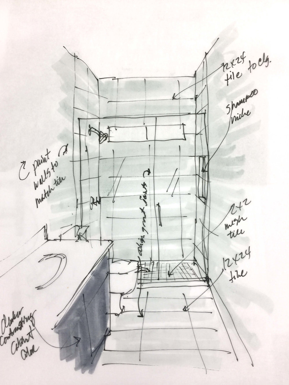 Quick sketch bathroom remodel idea replacing tub with walk in shower