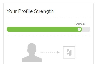 "Screenshot of my profile ""strength"" indicator on Houzz"