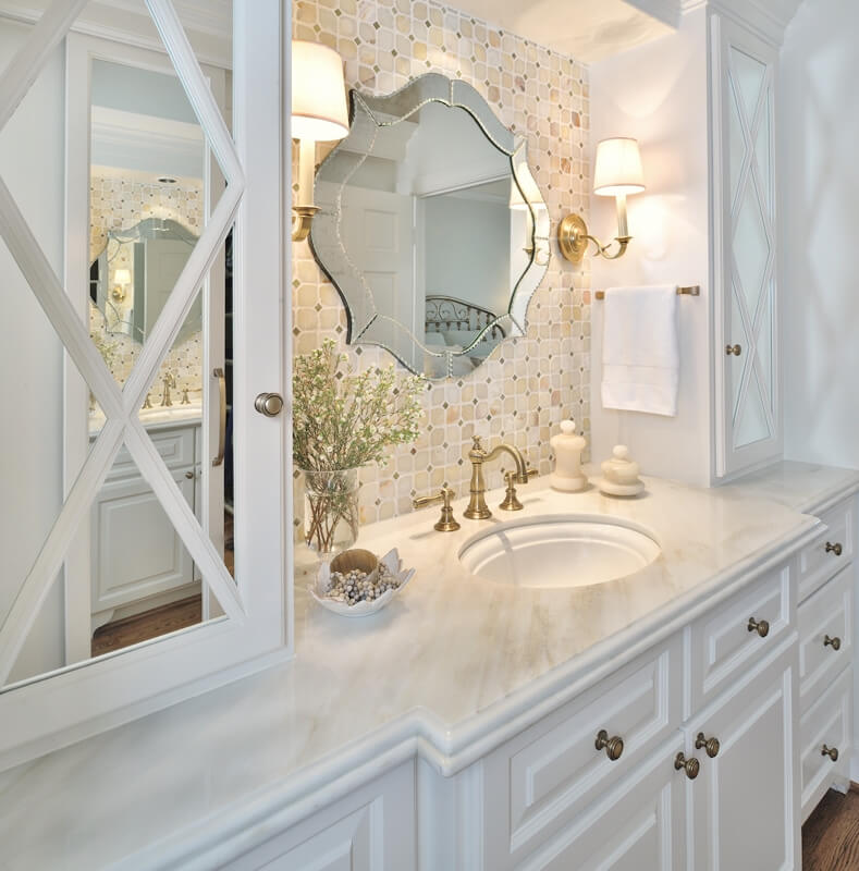 Master bathroom remodel with 12 inch deep upper cabinet as medicine cabinet - Designer: Carla Aston, Photographer: Miro Dvorscak #medicinecabinet #bathroomcabinets