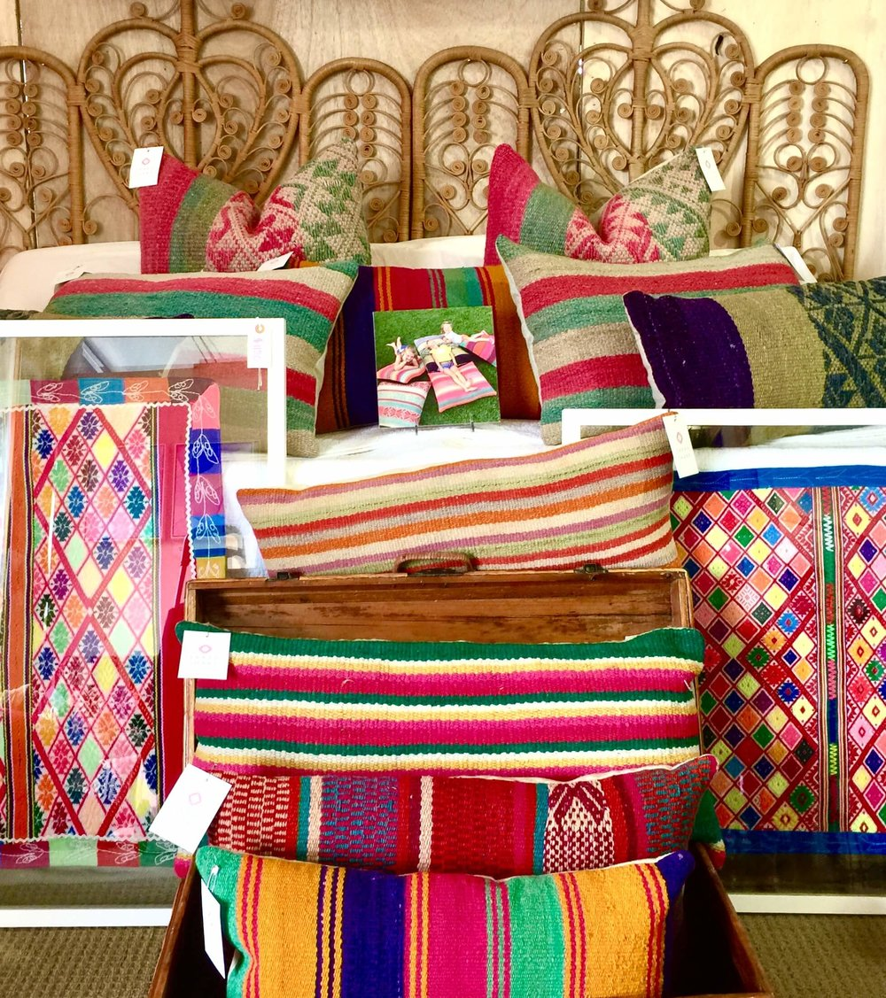 Boho style with bright colorful pillows at Round Top, TX at Arbor Antiques #boholover #pillows #roundtop