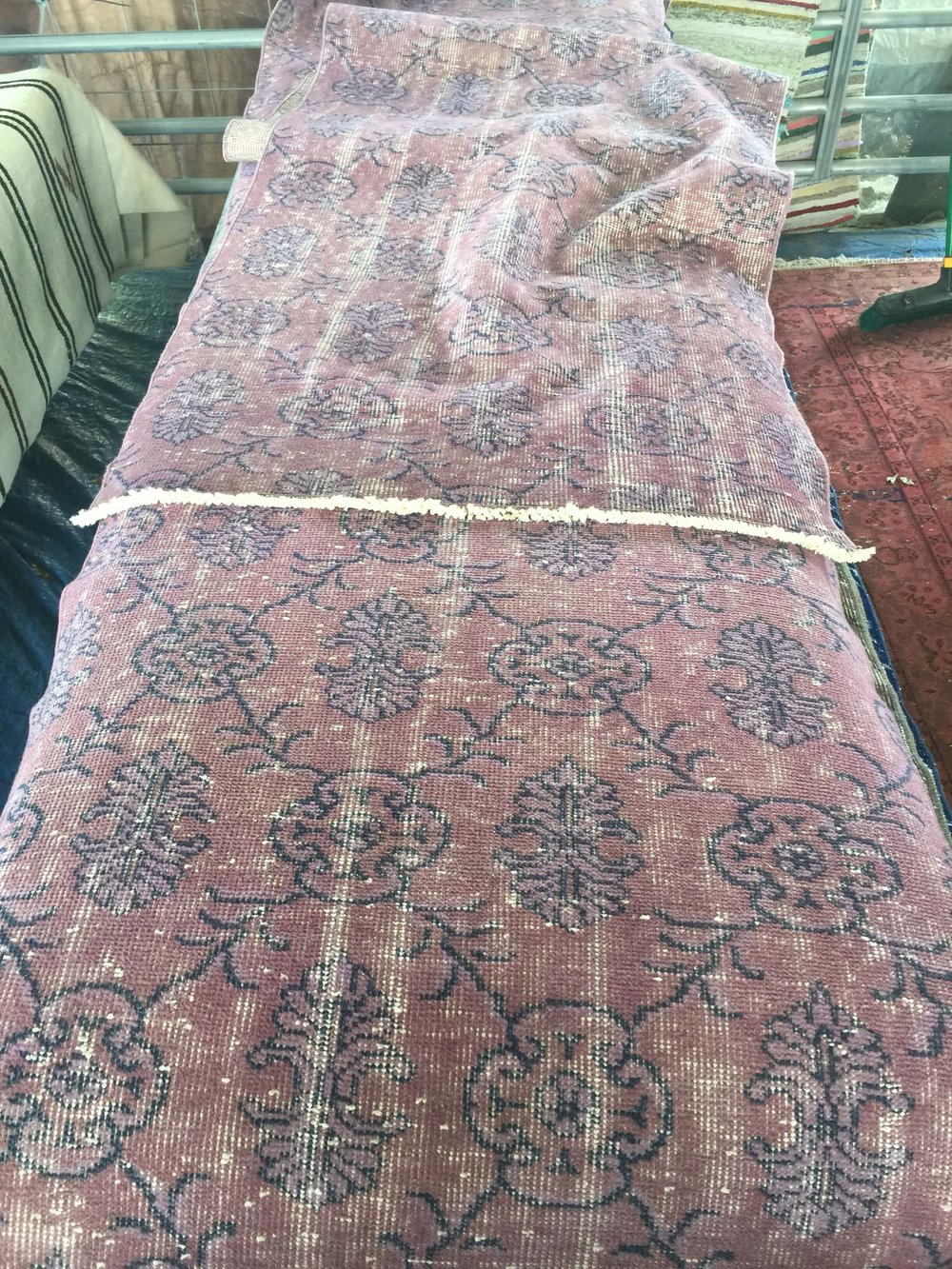 Purple antiqued runner rug at Roundtop, TX #runner #rug #purplerug #roundtop