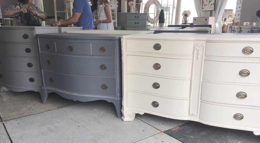 Vintage painted furniture and chests seen at Roundtop, TX #paintedfurniture #vintagefurniture #roundtop