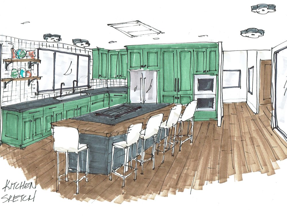 Quick sketch of the colorful kitchen cabinets, kitchen island with live edge bar and zellige tile wall. #kitchendesign #kitchendesignideas
