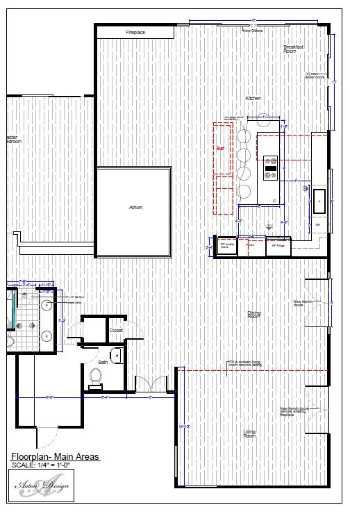 Floor plan for remodel, raising sunken living room, installing new French doors and sliders, remodeling kitchen completely