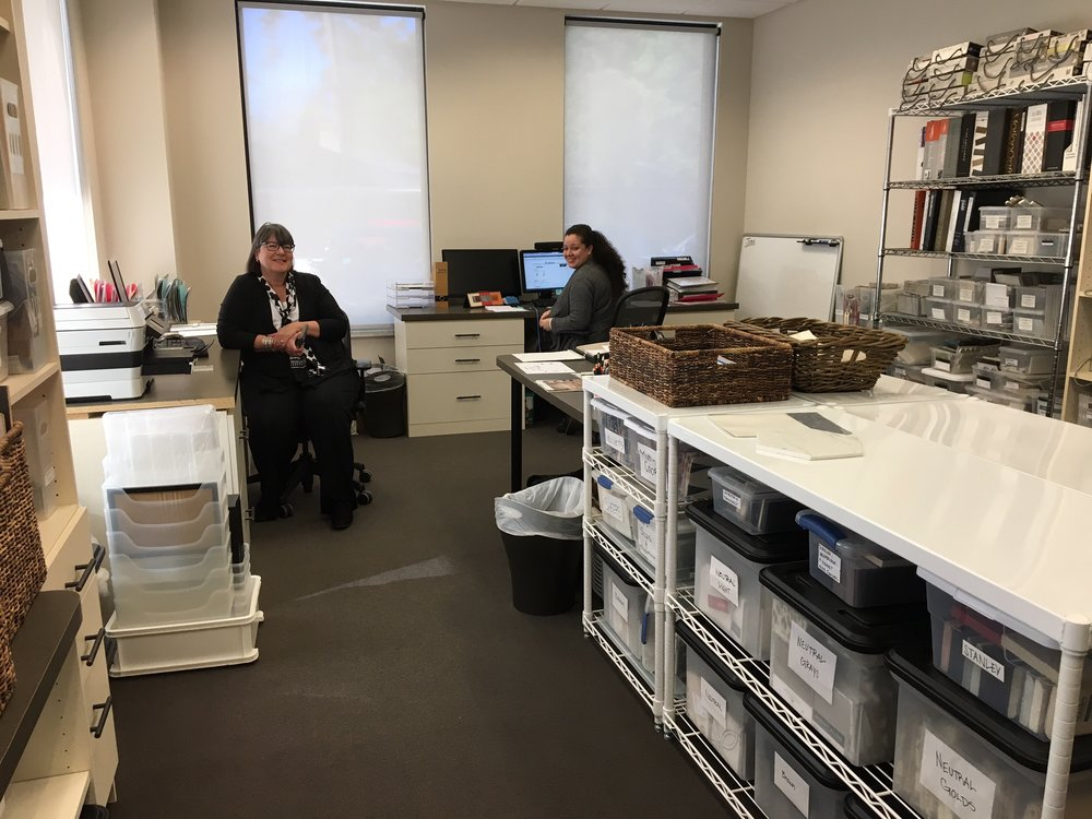 That's me and Jitka in my design studio in The Woodlands. We are surrounded by our favorite samples. :-)