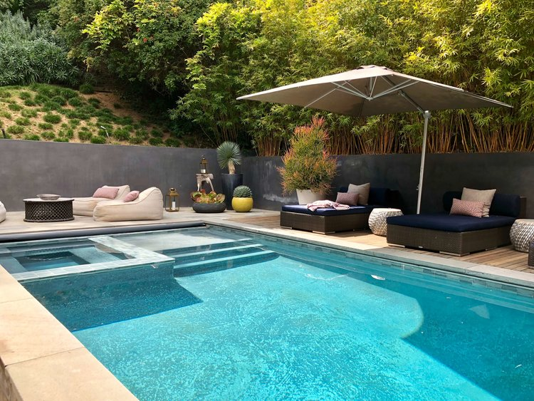 Back yard / Pool - Assembledge+ Architects, Dwell on Design, Los Angeles, California  #backyardideas #pool #swimmingpool #swimmingpooldesign #retainingwall