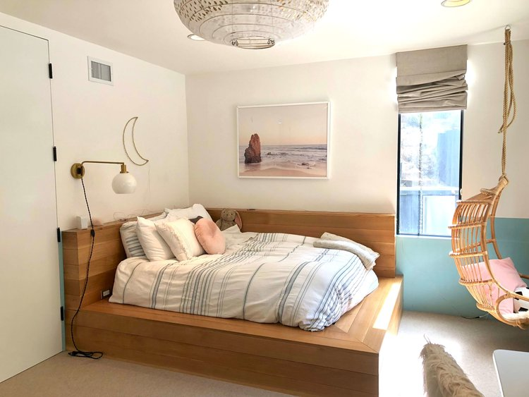 Girl's bedroom with built in platform bed and bamboo hanging chair | Assembledge+ Architects, Dwell on Design, Los Angeles, California  #girlbedroom #girlbedroomideas #hangingchair