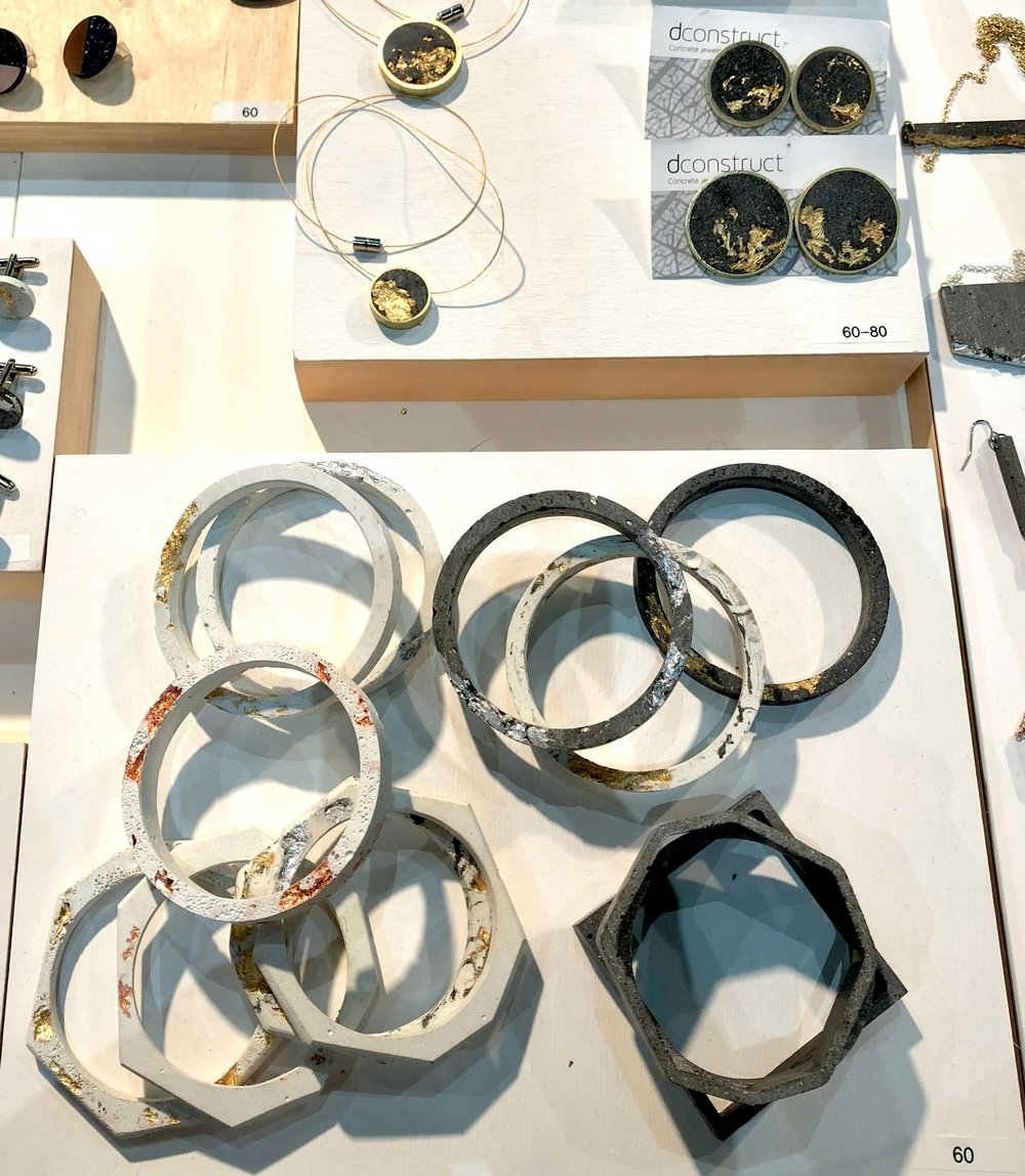 dconstructed jewelry design at Dwell on Design #concrete #jewelrydesign