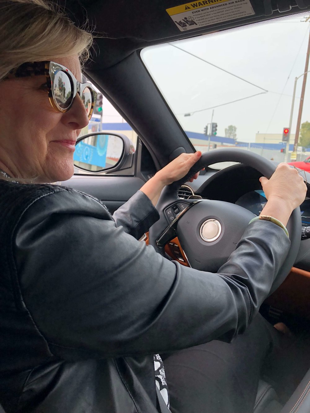 Deborah von Donop  drove our car and looked so good! Karma Automotive  #luxurycar #karmaautomotive