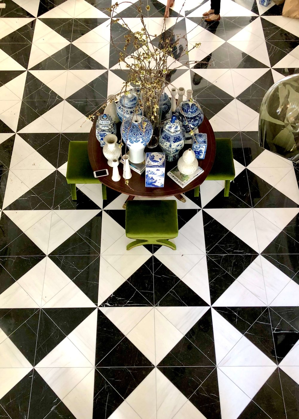 Black and white geometric marble tile floor in the entry hall foyer of the Pasadena Showcase House of Design Entry Hall - Designer: Amy Peltier