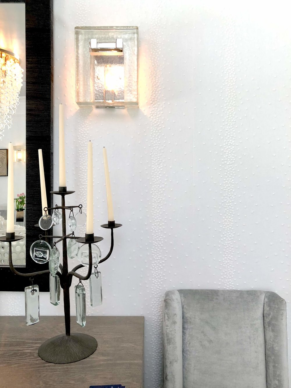 Dining room was designed by Elizabeth Lamont, from Room by the Beach, at the Pasadena Showcase House of Design 2018 #diningroom #diningroomideas #upholsteredwalls #candelabra #wallsconce