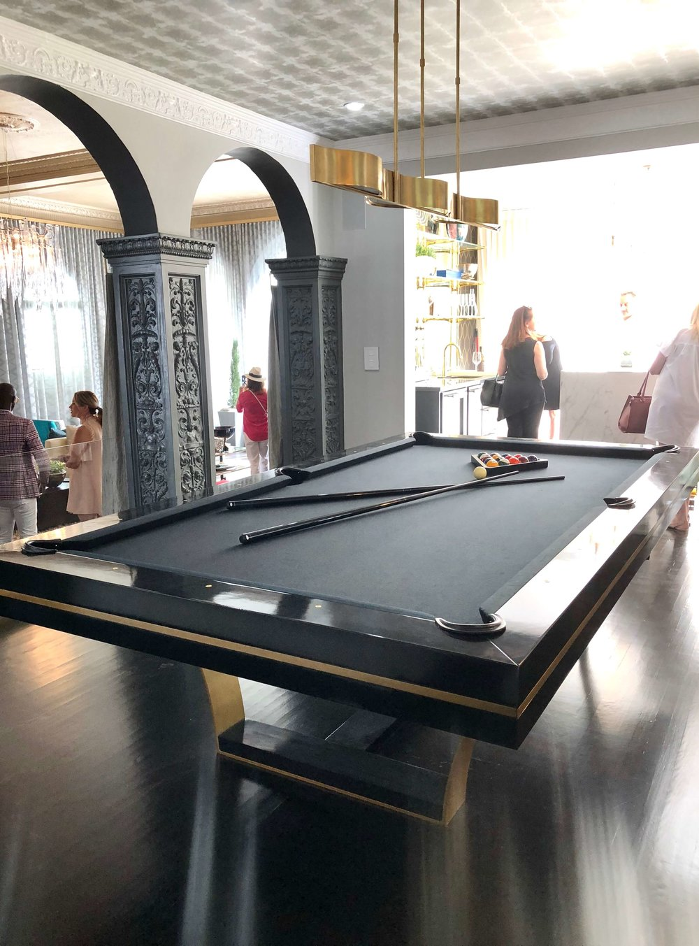 Billiard room with contemporary pool table designed by Designs of the Interior in the Pasadena Showcase House of Design 2018 #billiards #pooltable  #gameroom #gameroomideas