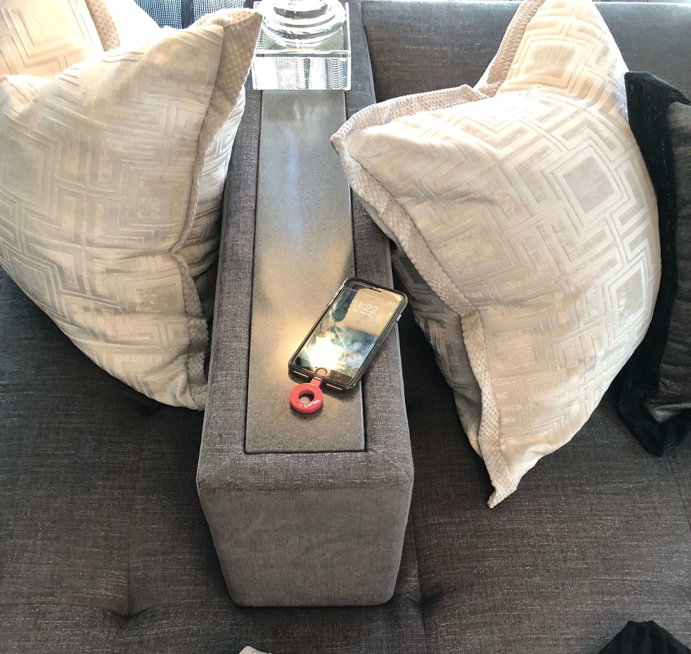 Charge your phone on the arm of this sectional sofa - Michael Wrusch of Michael Wrusch Designs #phonecharger #sectional #sofa