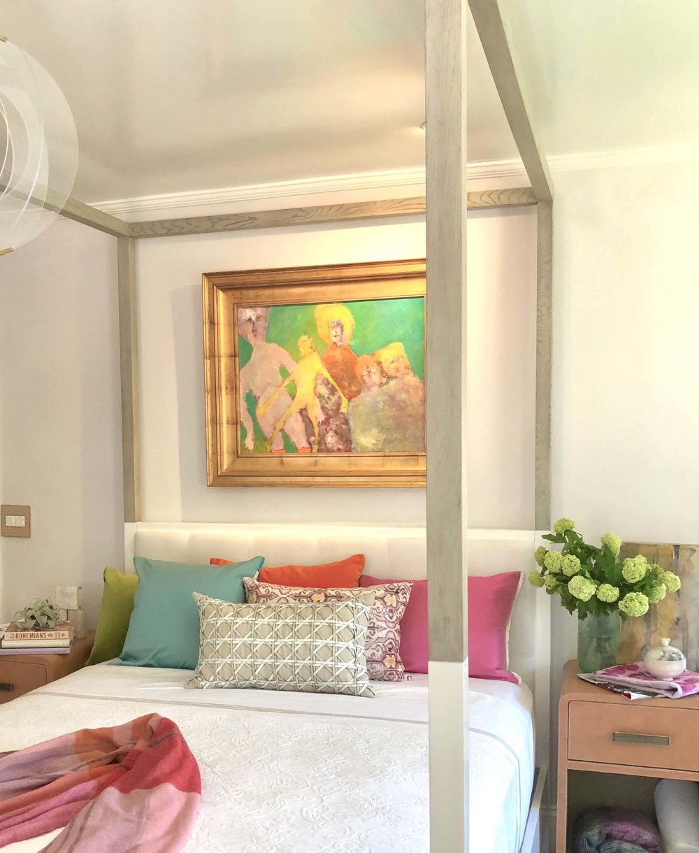 Teen girl bedroom designed by Jeanne K. Chung, in pinks and pastels with four poster bed, Pasadena Showcase House