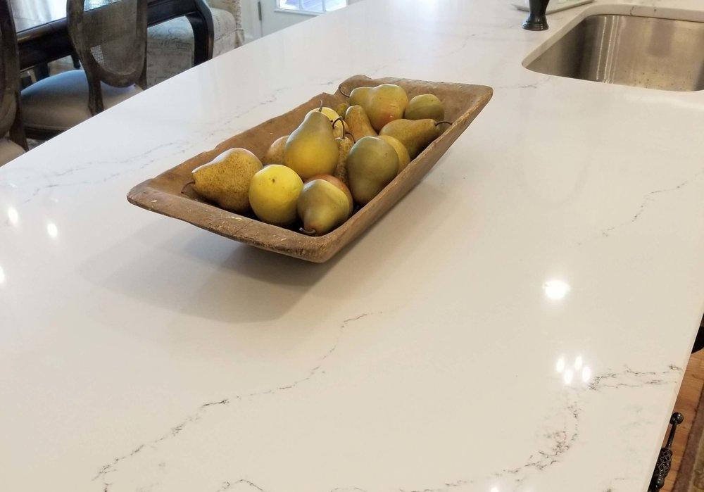 Close up of Homeowner's new Caesarstone kitchen island countertop