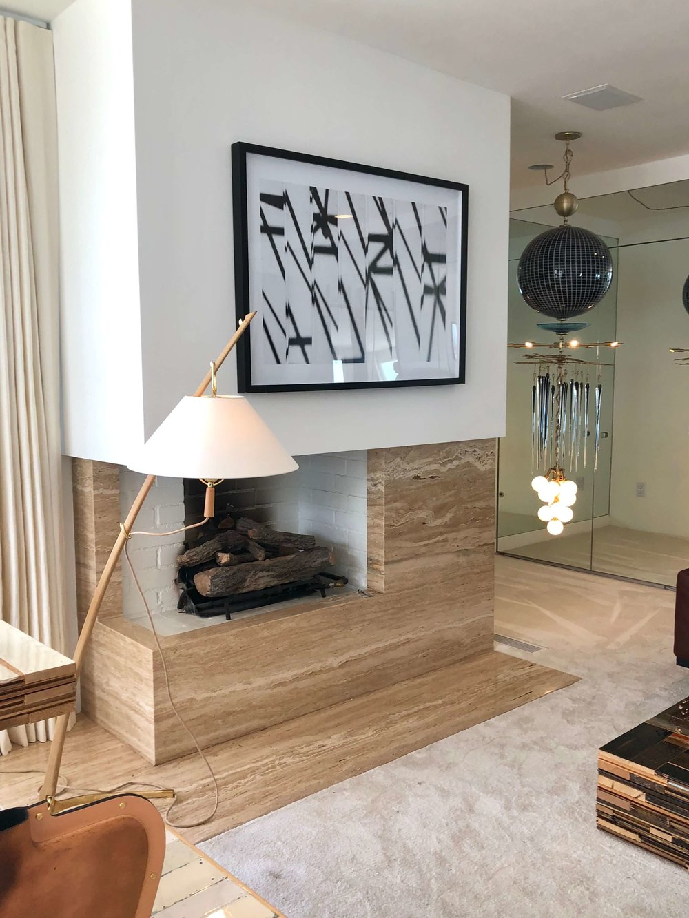 Art, lighting, and home furnishings are all available for purchase at Casa Perfect, Beverly Hills, CA #lighting #chandelier #fireplace #art