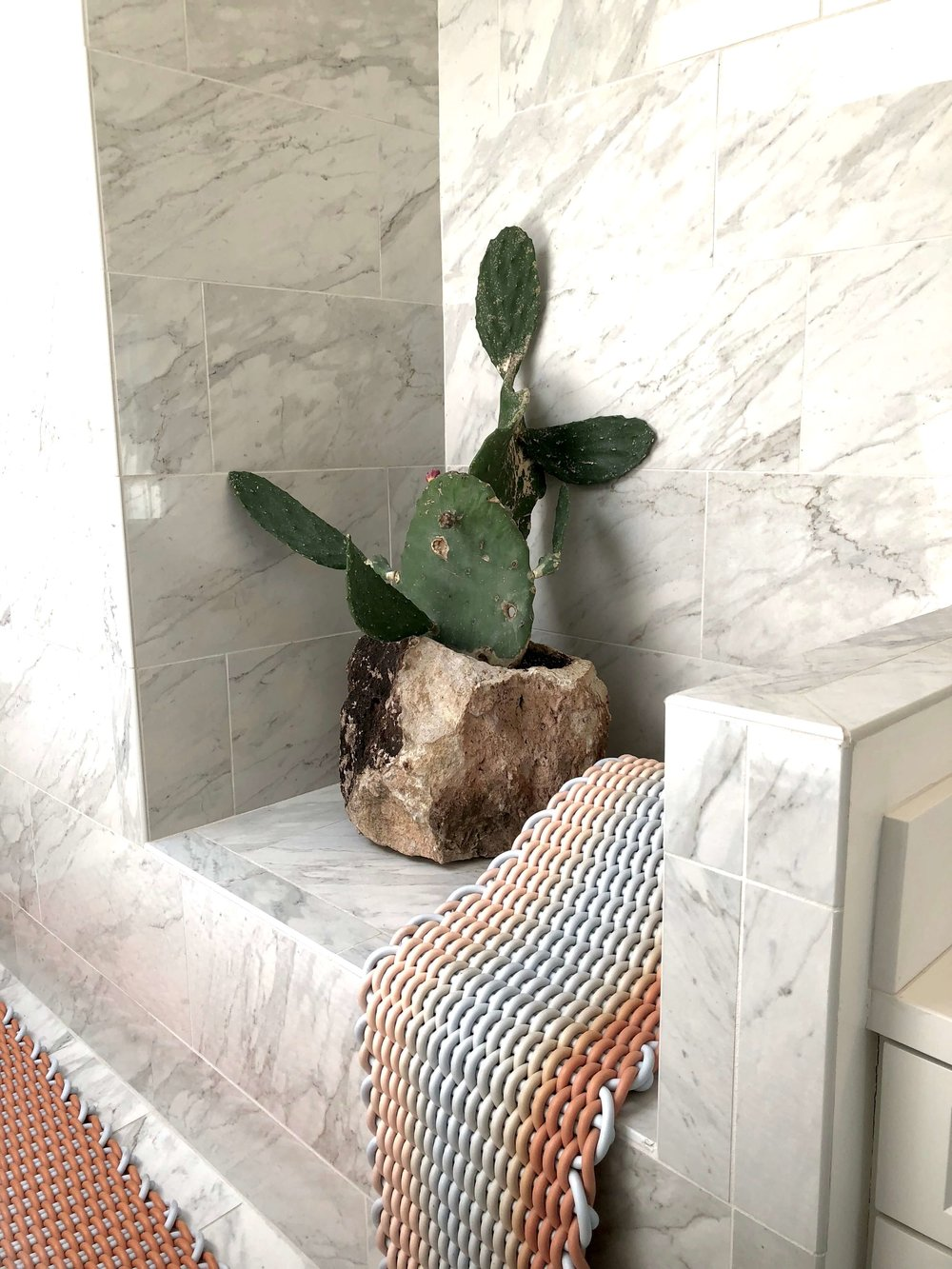 White marble seat in bathroom makes a great plant niche with container by Jonathan Cross #whitemarble #bathroom