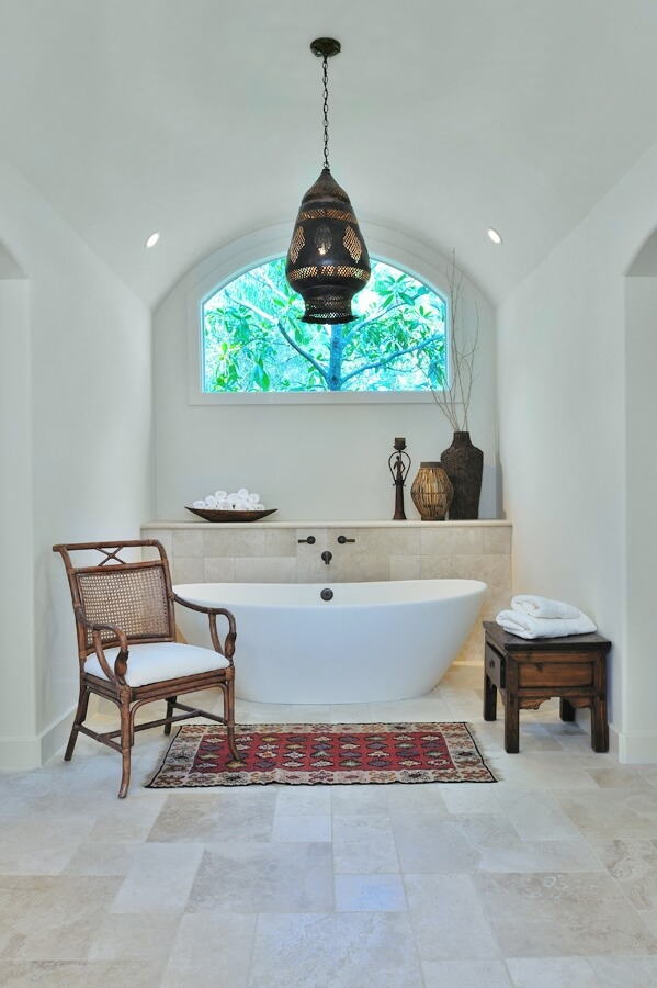 AFTER - Bathroom remodel with free standing tub in arched alcove and wall mount faucet | Carla Aston, Designer | Miro Dvorscak, Photographer