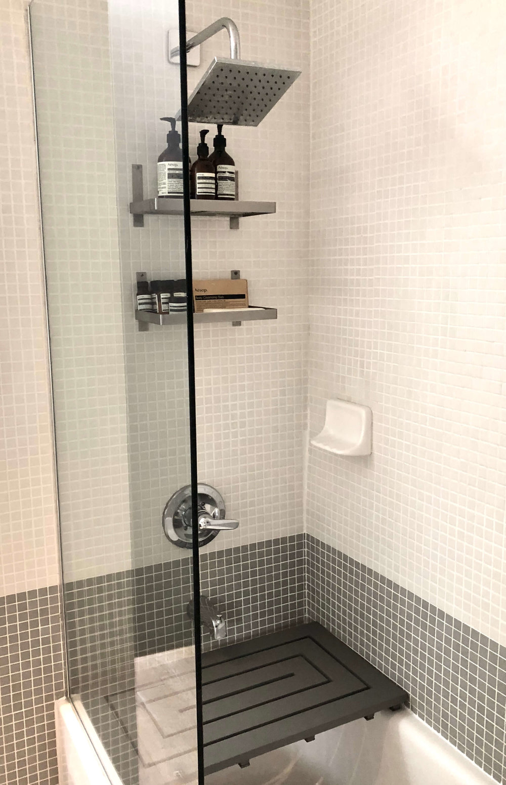 Modern bathroom shower and tub #shower #mosaictile #modernbathroom
