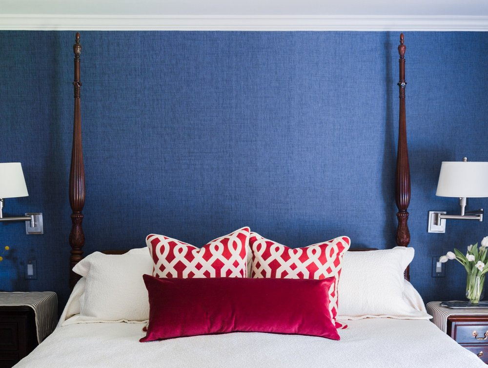 Red, white, and blue bedroom with Americana style - Carla Aston: Designer, Tori Aston: Photographer