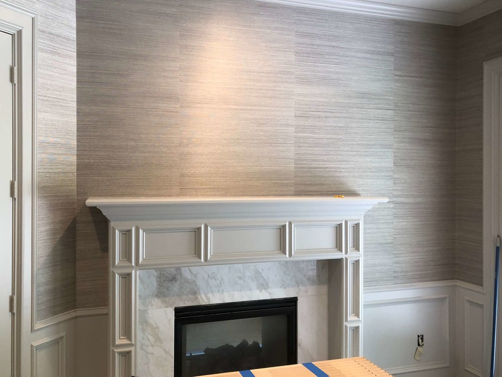 Home Office / Study with new marble fireplace surround, paint, and grasscloth wallcovering | Designer: Carla Aston