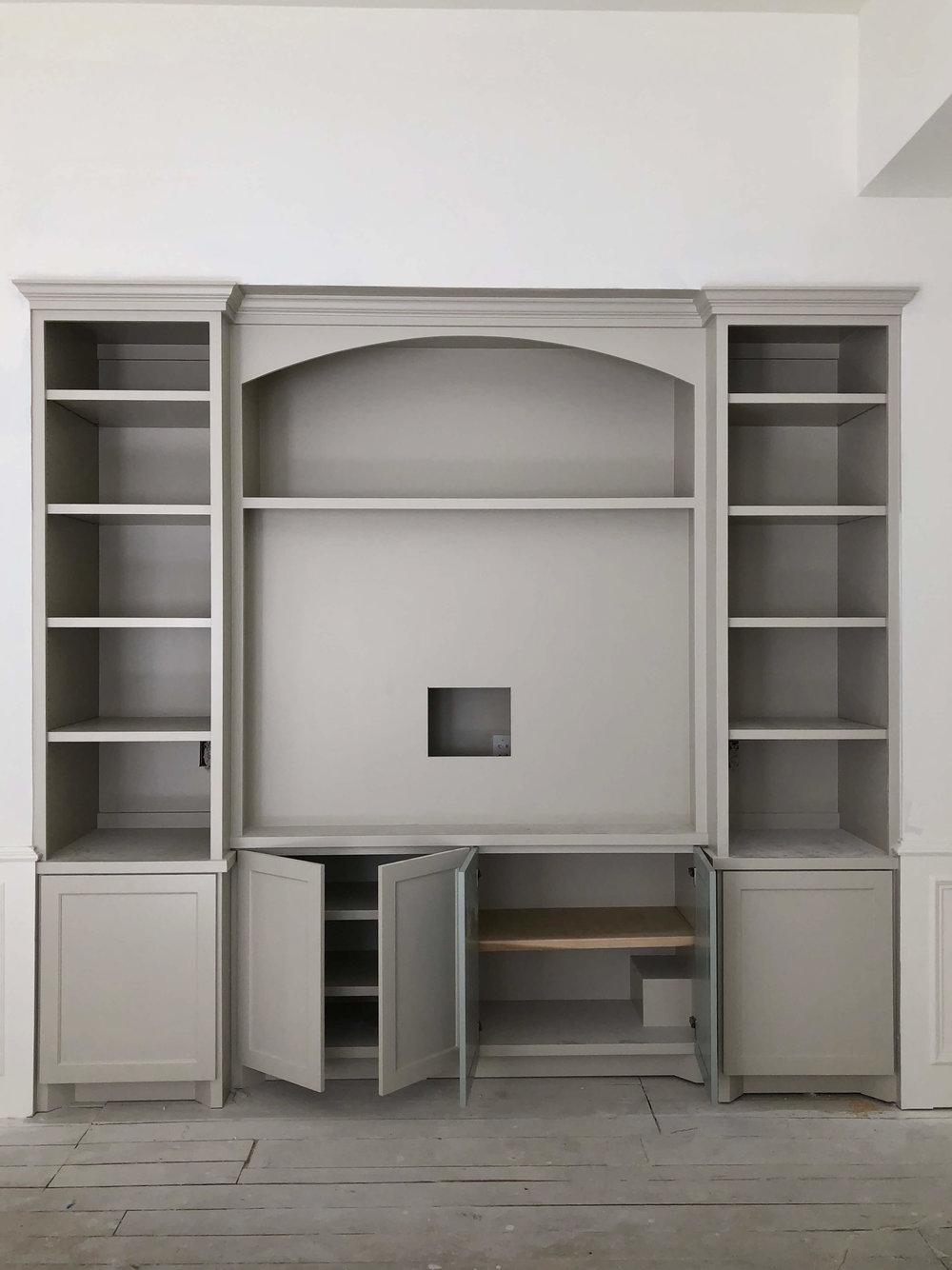 Remodel in progress - Gameroom cabinetry for flat screen tv