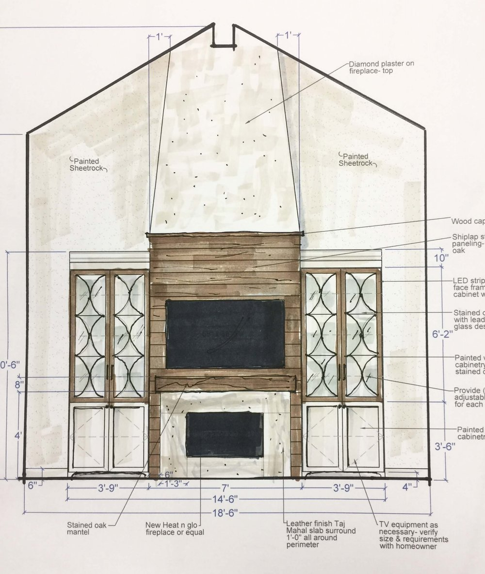 Sketch of tv wall and built-ins