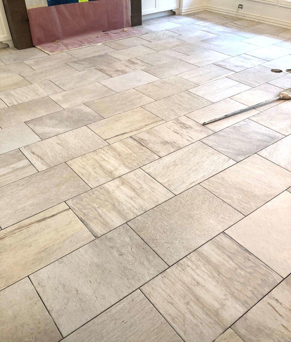 Tile floors laid in 1/3 offset