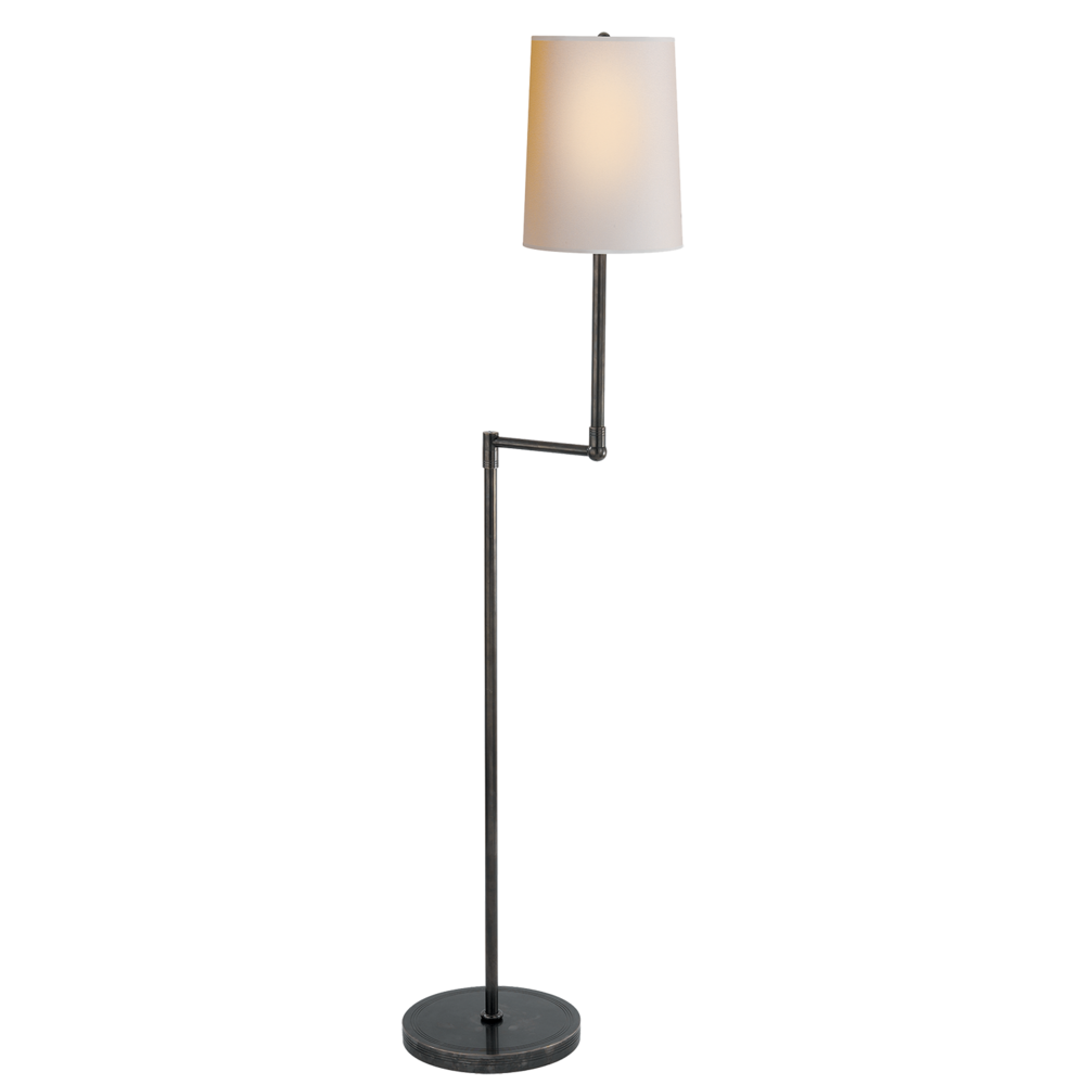 bronze finish floor lamp with white shade