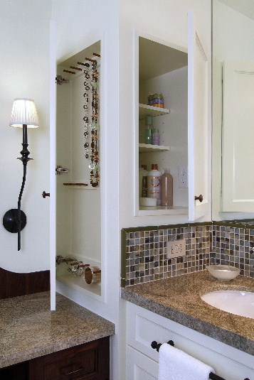 Medicine and jewelry cabinet built in to wall in master bath remodel | Carla Aston: Designer, Miro Dvorscak: Photographer